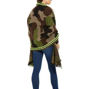 DKNY Striped Camo Oversized Blanket Scarf Wrap